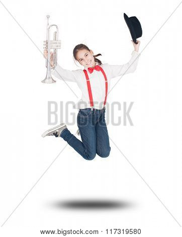 little girl with trumpet jumping on a white background
