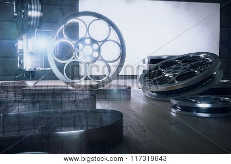 The Tape Of Film And Camera On The Wooden Table, Backlit
