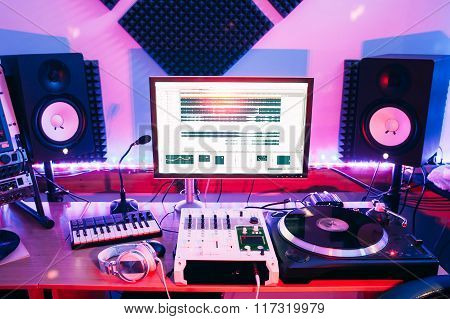 Sound equipment in professional audio recording studio