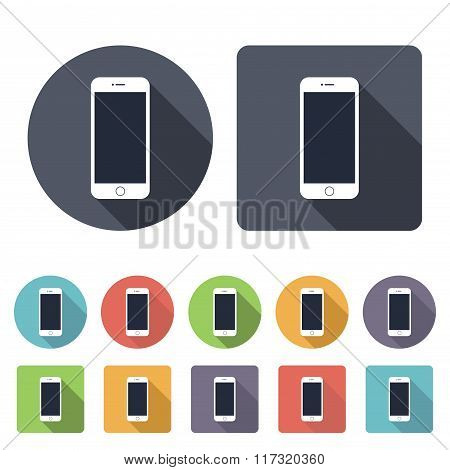 Smartphone Icons Set In The Style Flat Design On The White Background. Stock Vector Illustration Eps