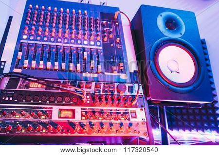 Sound producer audio controller. Dj studio system
