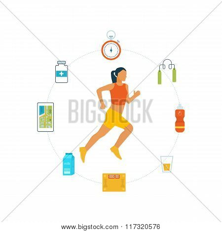 Healthy lifestyle, fitness and physical activity concept.