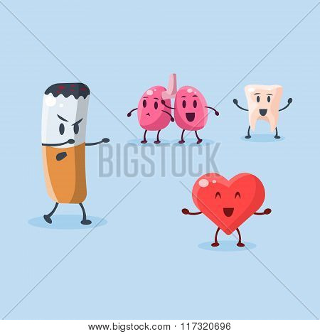 Harm of Smoking. Vector Illustration Set