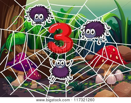 Number three with three spiders on web illustration