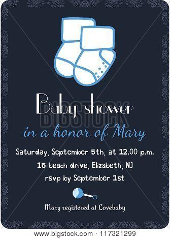 Baby shower invitation card template. Invitation, postcard, banner. Newborn boy arrival. Little sock