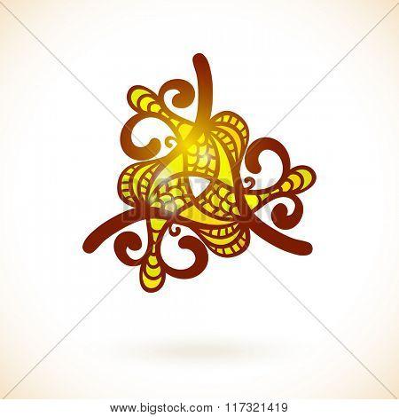 Geometric triangular design element, Ornamental yellow mandala