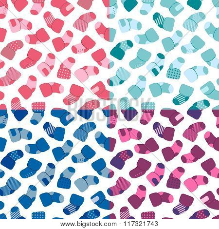 Vector seamless pattern set for web design, prints etc. Repeating background with little socks can b