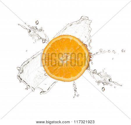 orange splash isolated on white background