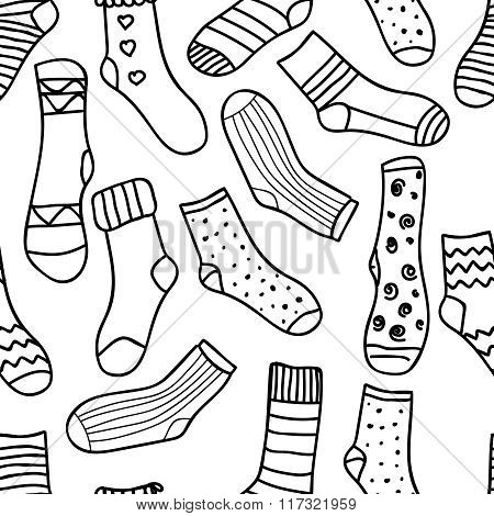 Vector seamless pattern of doodle socks for web design, prints etc. Repeating background can be copi