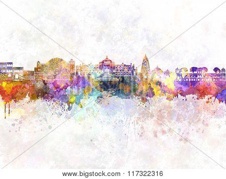 Jaipur Skyline In Watercolor Background