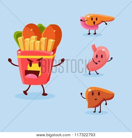 Unhealthy Food Danger. Vector Illustration Set
