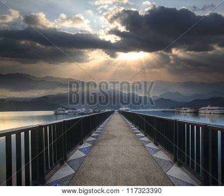 Dramatic Clouds With Mountain Silhouette In Dawn,taiwan, Asia
