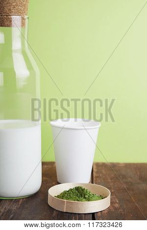 Milk Bottle, Matcha, Paper Glass On Green Back