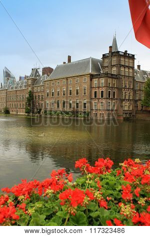 The Ridderzaal In Binnenhof With The Hofvijver Lake. Meeting Place Of States General Of The Netherla