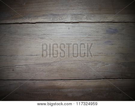 Background From Wood Texture With A Vignette.