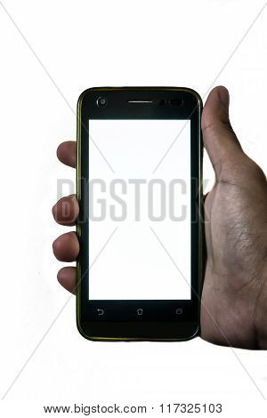 Man Hand Hanging A Mobile Phone On Isolated Background