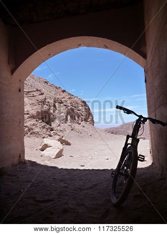 Bicycle At The Tunel In Atacama Desert