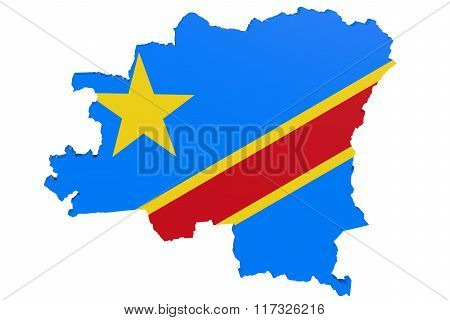 Democratic Republic of the Congo Flag Map