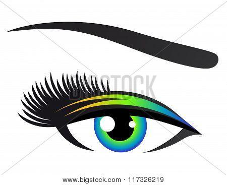colorful eye with eyelashes