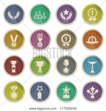 Medals and tropheys simply icons