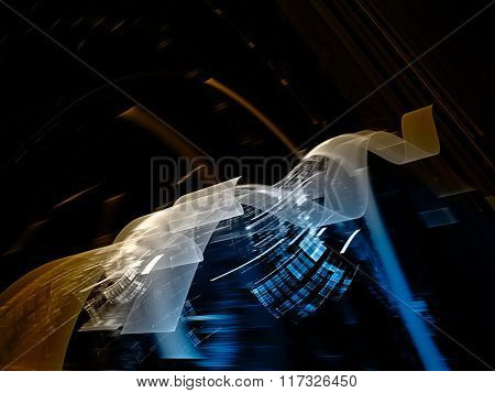 Abstract background element in blue, yellow and black colors