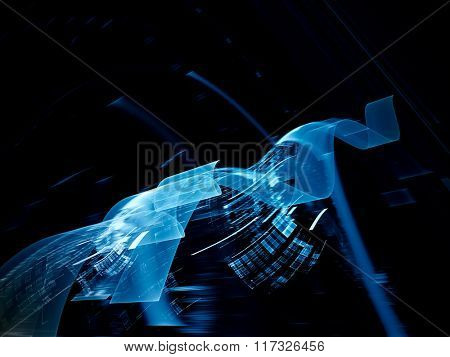 Abstract background element in blue and black colors