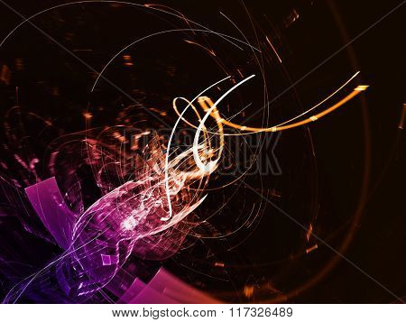 Abstract background element in orange, purple and black colors