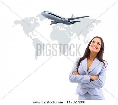 business woman smileeng and looking at airplane
