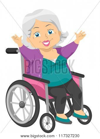 Illustration of an Elderly Woman in a Wheelchair Waving Her Arms Happily