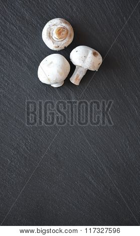 Mushrooms On A Black Slate Table