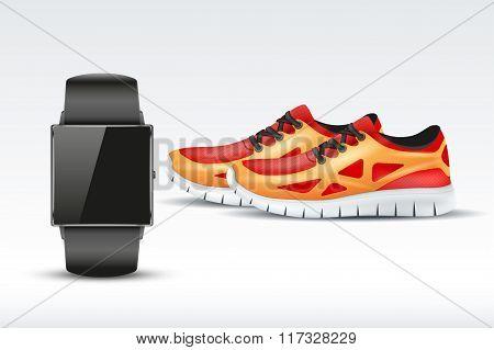 Sport digital smart watch and sneakers.