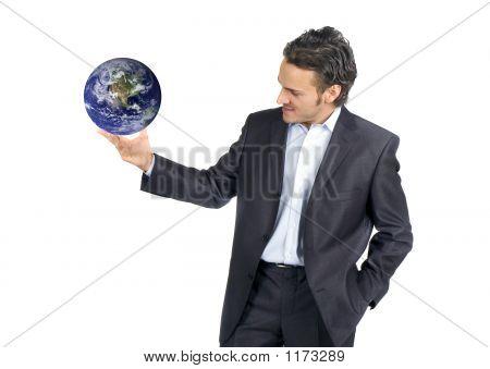 Businessman And World