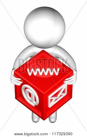 3D Man With With Signs: Envelope, Www, E-mail