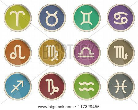 Zodiac signs icon set