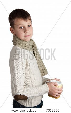 Cute boy with a cup isolated on white background