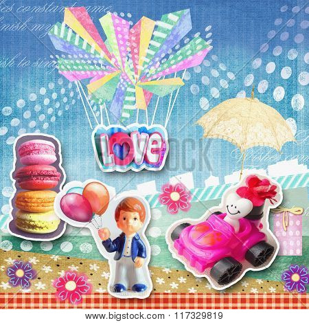 Cute Holiday Card. Macaroons, Figurine Of Boy With Baloons, White Heart Riding In Red Car