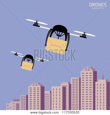 Air Drones Carrying Cardboard, Cityscape Background