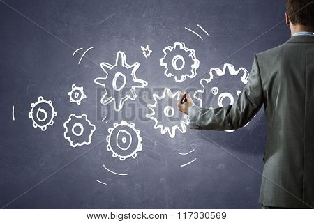 Man presenting teamwork concept