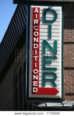 Diner Sign On Brick Building