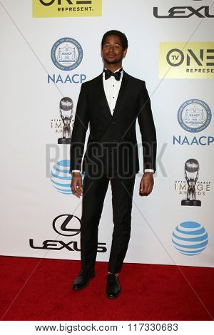 LOS ANGELES - FEB 5:  Alfred Enoch at the 47TH NAACP Image Awards Arrivals at the Pasadena Civic Auditorium on February 5, 2016 in Pasadena, CA