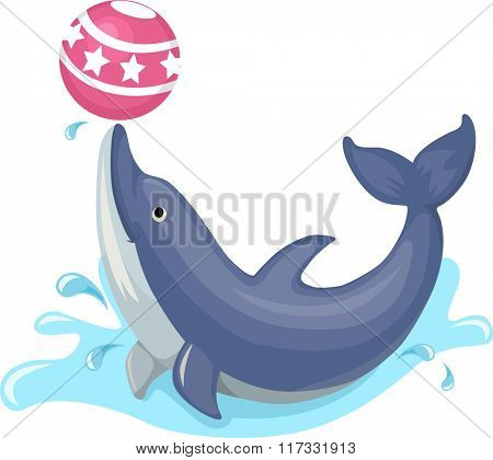 Illustration of a Cute Dolphin Performing a Trick with a Ball