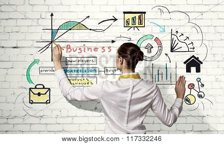 Woman sketching business strategy