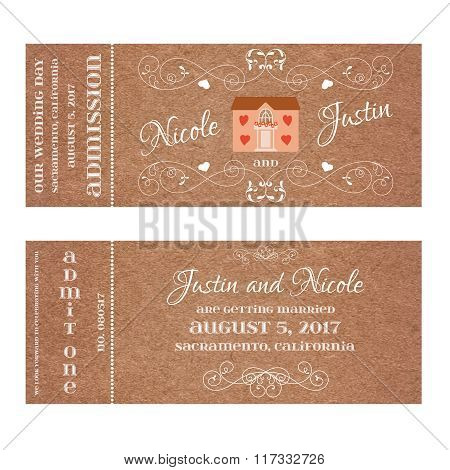 Ticket for Wedding Invitation with wedding house