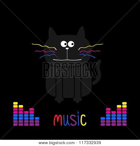 Cute Black Cat With Colorful Moustaches. Digital Equalizer. Music Card. Flat Design. Black Backgroun