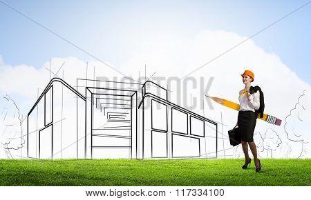 Attractive architect designer