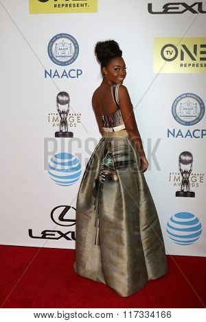 LOS ANGELES - FEB 5:  Nafessa Williams at the 47TH NAACP Image Awards Arrivals at the Pasadena Civic Auditorium on February 5, 2016 in Pasadena, CA