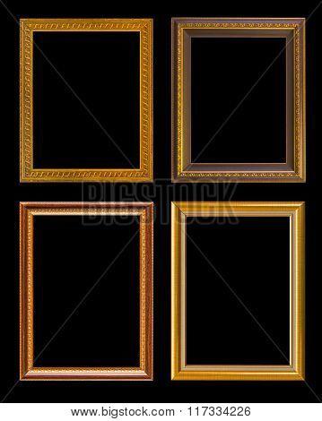 Gold Frame Elegant Vintage Isolated On Black Background