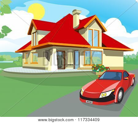 Red car and home