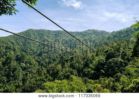 Zip line in the mountain