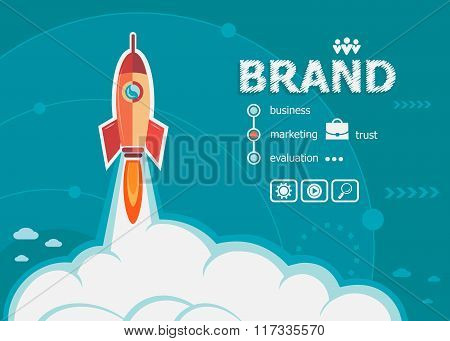 Branding Design And Concept Background With Rocket.